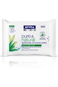 NIVEA VISAGE PURE & NATURAL с почистващи кърпички за лице